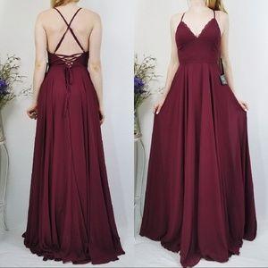 Lulus Burgundy Remember Tonight Lace-Up Maxi Dress